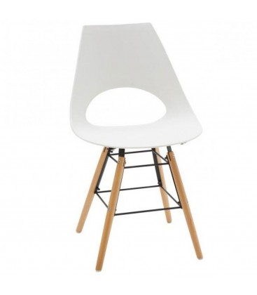 Sedia Design Polipropilene Bianco mod DAW WOODEN