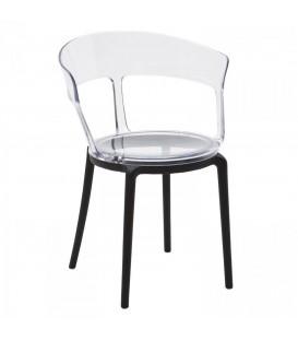 Sedia Minimal in Polipropilene nero e trasparente