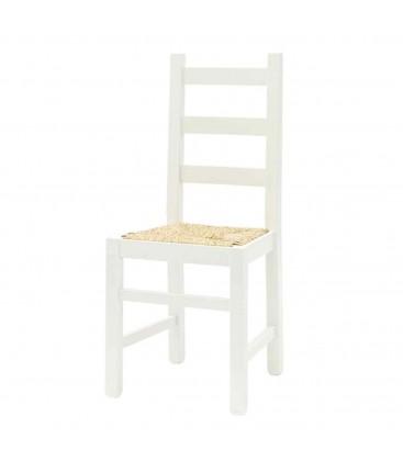 Sedia bianca con seduta in paglia