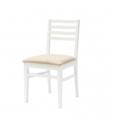 Sedia bianca con fondino tappezzato
