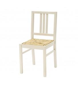 Sedia avorio con seduta in paglia