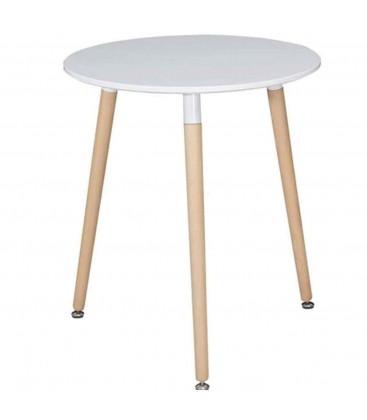 Tavolino tondo bianco con gambe in legno
