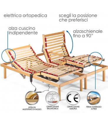 Rete letto alla francese Ortopedica Legno Faggio Elettrica Motore OKIN