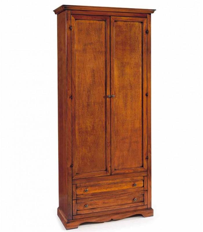 Armadio in legno 2 ante 2 cassetti Noce - Spazio Casa