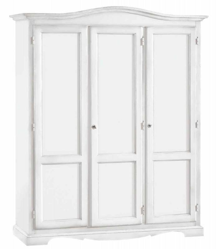 Armadio Legno 3 Porte Laccato Bianco - Spazio Casa