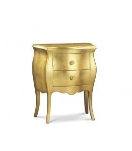 Comodino in Legno Bombato 2 Cassetti foglia oro