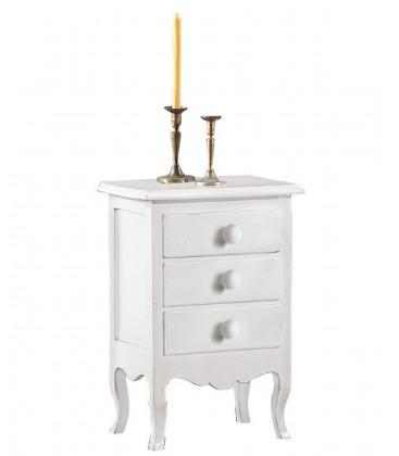 Comodino classico in legno 3 cassetti bianco opaco
