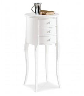 Comodino Fagiolino classico in legno bianco opaco