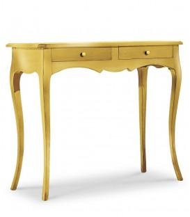 Consolle classica in legno 2 cassetti Foglia Oro
