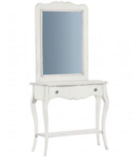Consolle classica da ingresso in legno con cassetto Bianco opaco