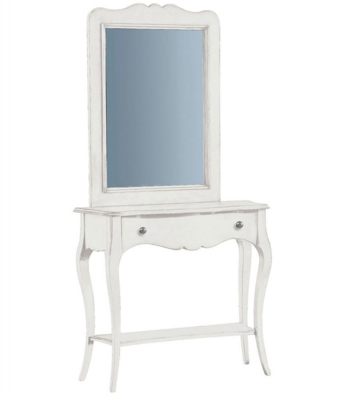 Consolle classica da ingresso in legno con cassetto bianco for Ingresso casa classica