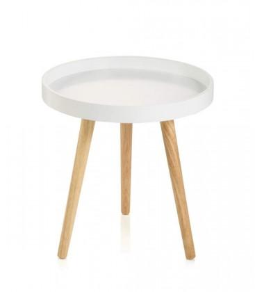 Tavolino moderno tondo bicolore con gambe in legno