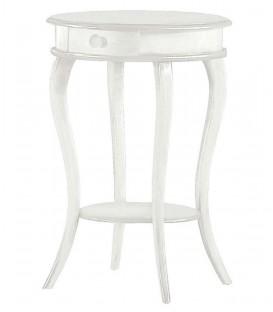 Tavolino da salotto rotondo in legno Bianco Opaco