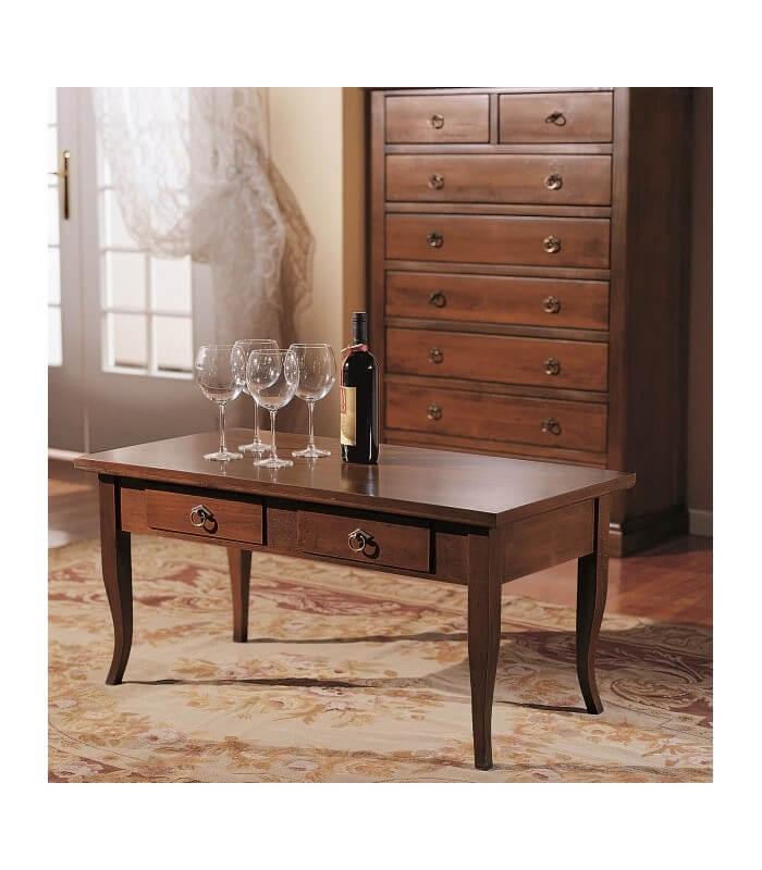 Tavolino da Salotto Legno 2 Cassetti Noce