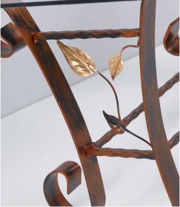 Tavolino da salotto Rettangolare Foglie in Ferro Battuto