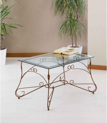 Tavolino Rettangolare da salotto Piano Vetro Ariel