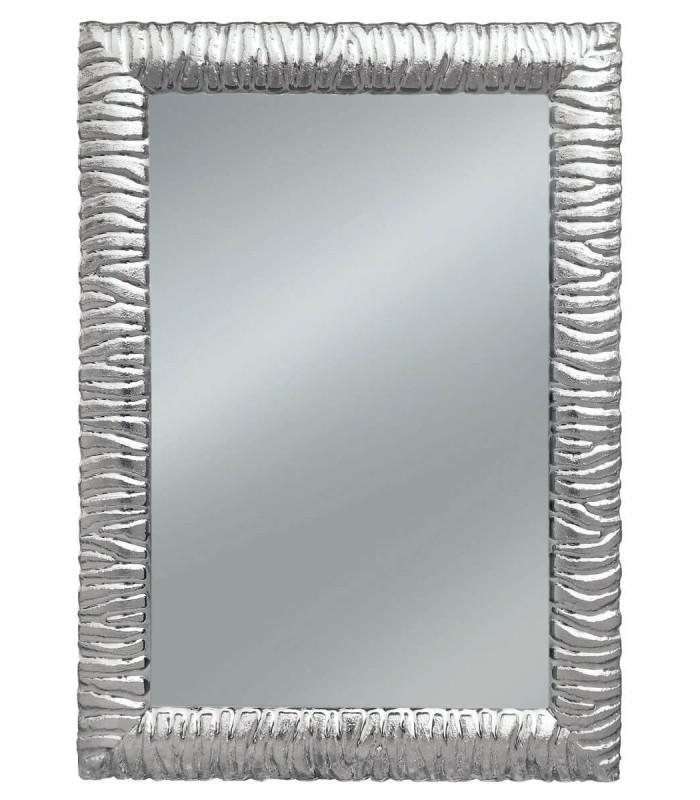 Specchio con cornice moderna intarsiatata argento spazio for Specchio cornice argento