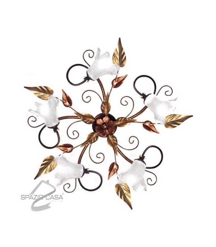 Plafoniera fiore 3 o 5 luci for Mercatone uno lampadari ventilatori