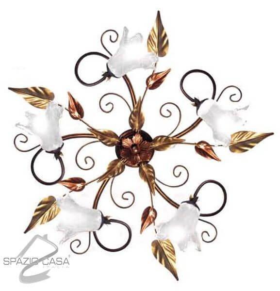 Plafoniera fiore in ferro battuto 3 o 5 luci ebay for Mercatone uno lampadari ventilatori