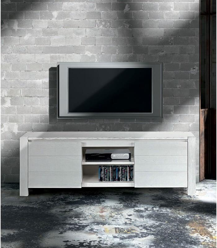Porta Tv Bianco Moderno.Porta Tv Moderno In Abete Bianco Spazzolato Spazio Casa