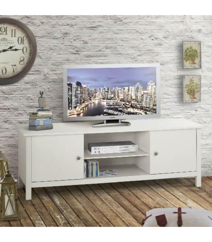 Porta TV Mobile Basso Legno Bianco - Spazio Casa