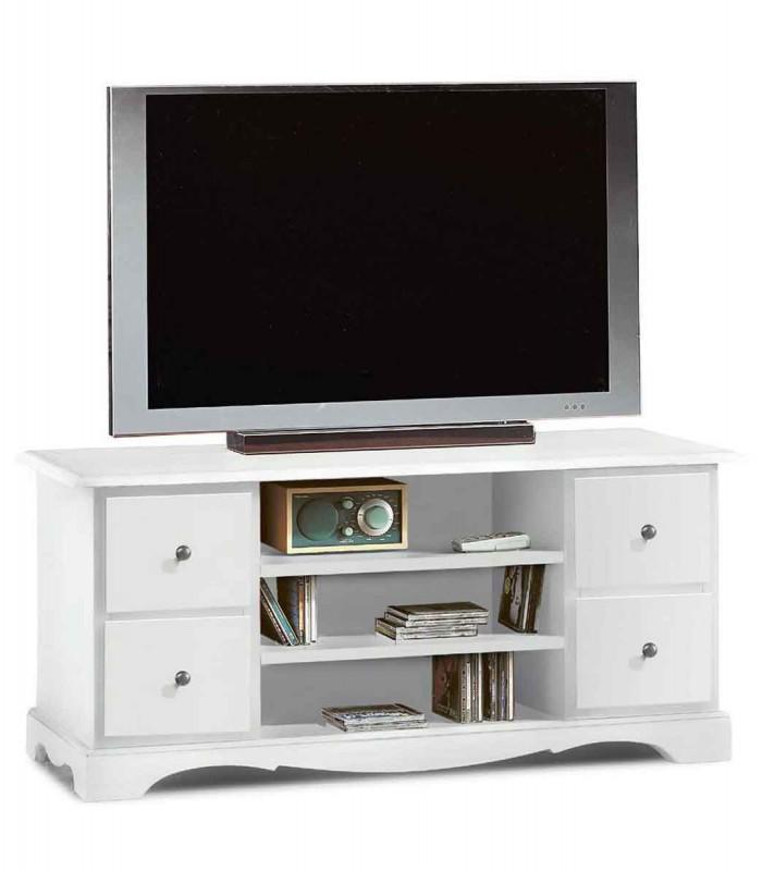 Mobile Porta Tv Classico con 4 cassettini Bianco