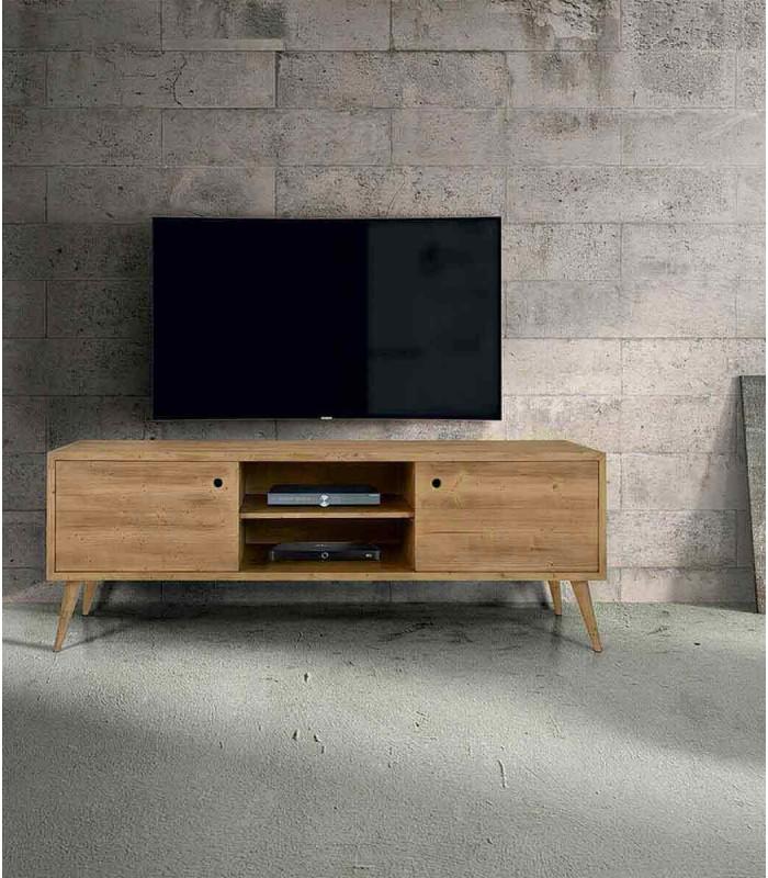 Porta TV moderno in abete spazzolato massello Naturale