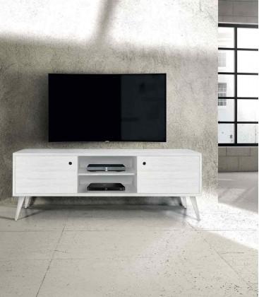 Porta TV moderno in abete spazzolato massello