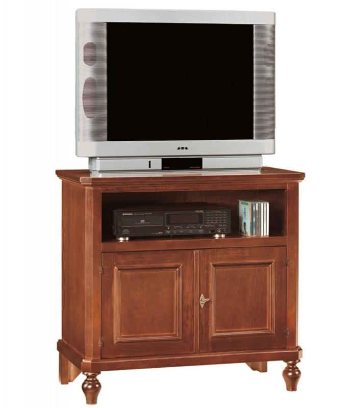 Porta TV legno noce arte povera con piedi a cipolla