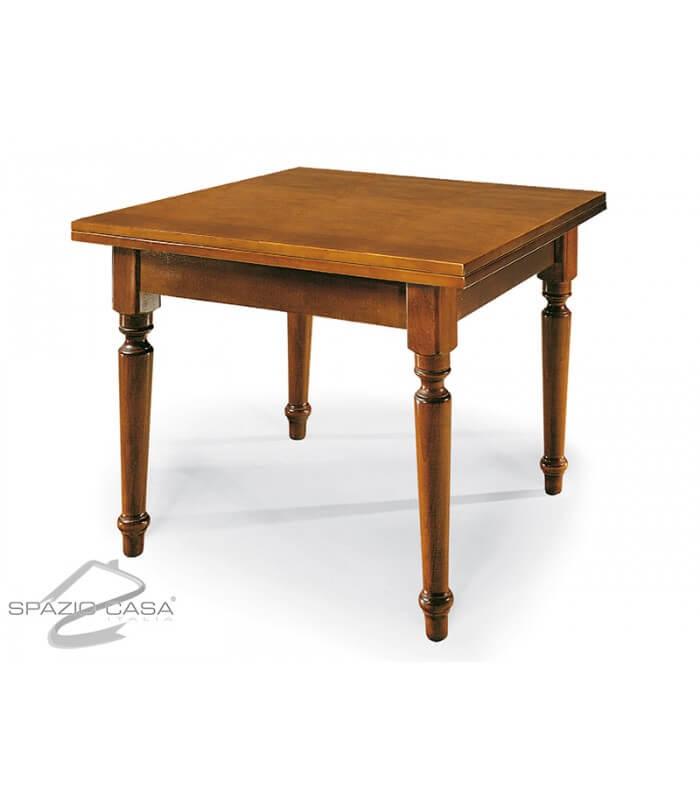 Tavolo quadrato in legno piede tornito for Tavolo legno quadrato