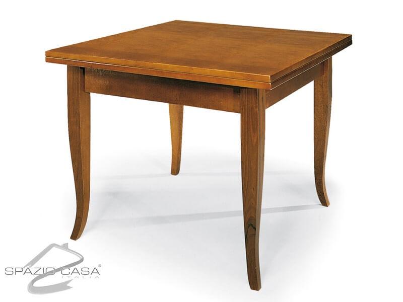 Tavolo quadrato in legno con piede a sciabola for Prezzo al piede quadrato per costruire un garage