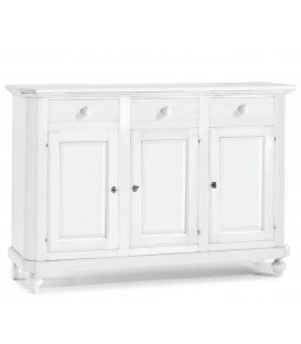 Credenza in legno arte povera tre porte tre cassetti Bianco opaco