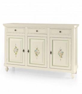 Credenza in legno arte povera tre porte tre cassetti Bianco lucido con decori