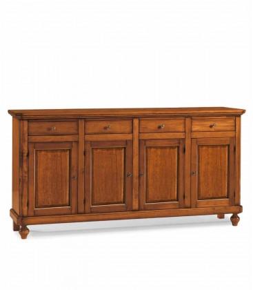 Credenza in legno arte povera 4 porte 4 cassetti Noce
