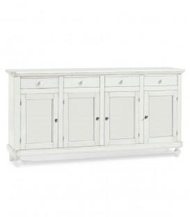 Credenza in legno arte povera Quattro porte Quattro cassetti  Bianco opaco