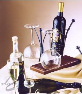 Porta bottiglia con bicchieri
