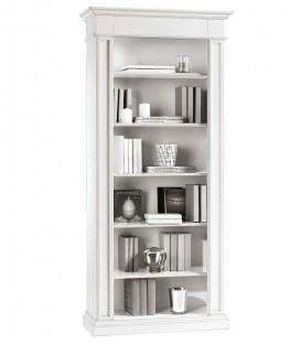Libreria classica in legno 5 ripiani bianco opaco
