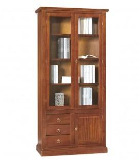 Libreria 2 ante + 3 cassetti e anta chiusa in legno Noce