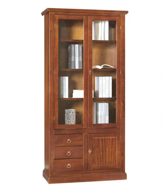 Libreria In Legno Noce.Libreria 2 Ante 3 Cassetti E Anta Chiusa In Legno Noce Spazio Casa
