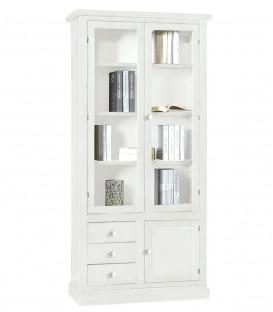 Libreria 2 ante + 3 cassetti e anta chiusa in legno Bianco Opaco