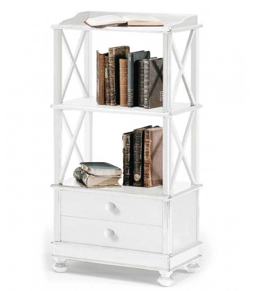 Libreria bassa Shabby Chic Bianco Opaco in legno