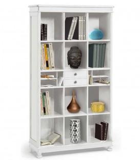 Libreria classica in legno bianco a giorno