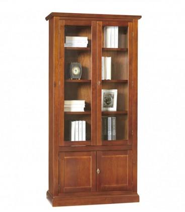 Libreria in legno 2 Ante in vetro Noce