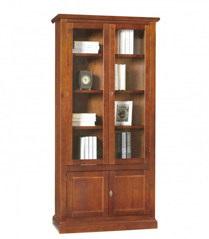 Libreria in legno 2 Ante in vetro Noce - Spazio Casa