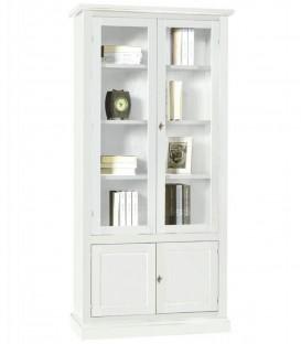 Libreria in legno 2 Ante in vetro Bianco Opaco