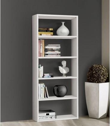 Libreria in legno 5 ripiani moderna Bianco Frassinato 89