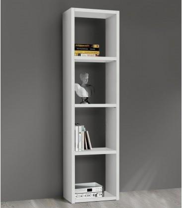 Libreria in legno 4 ripiani moderna Bianco Frassinato 46