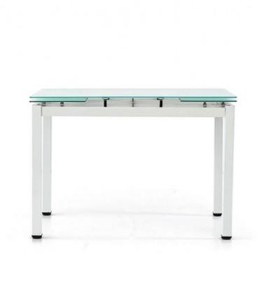 Tavolo rettangolare con piano in vetro allungabile Bianco
