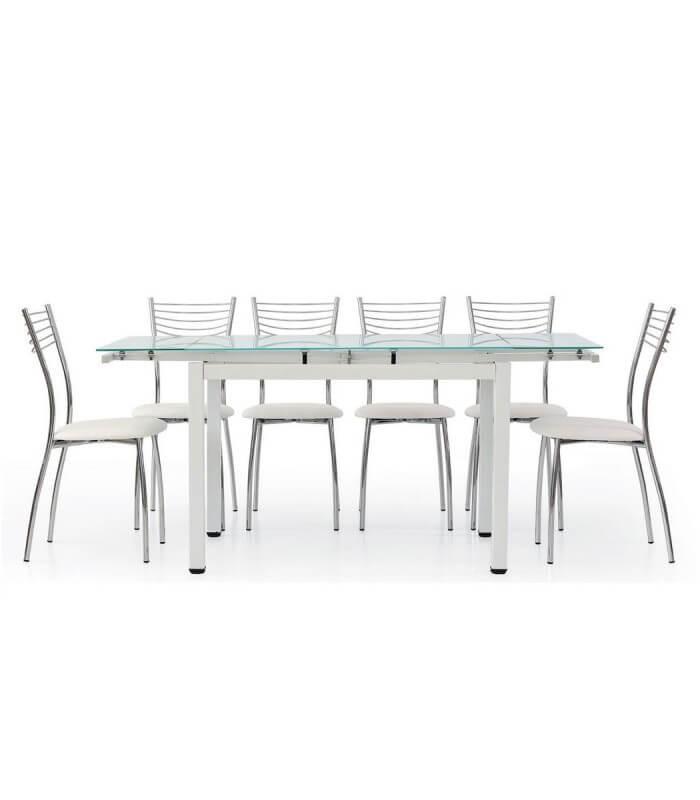 Tavolo rettangolare con piano in vetro allungabile bianco for Tavolo vetro allungabile amazon