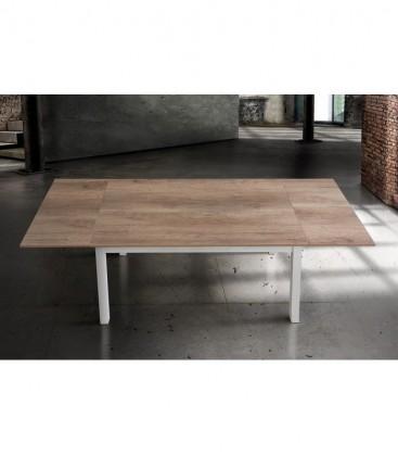 Tavolo bicolore aperto con piano in legno rovere